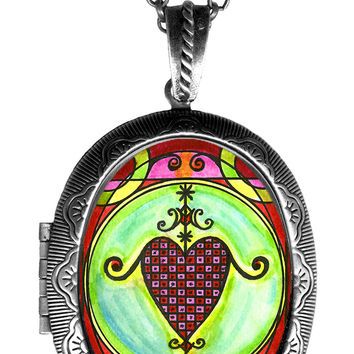 Erzulie Dantor Veve Protection Huge Locket Pendant Empty or Solid Perfume