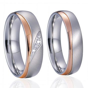 2017 Unique Engagement Wedding Band Matching Couple Rings Pair for men and women Rose love Gold Color Bague femme homme bijoux
