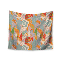 "Akwaflorell ""Fishes Here, Fishes There 2"" Multicolor Wall Tapestry"