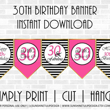 Printable 30th Birthday Hot Pink & Black Stripe Banner