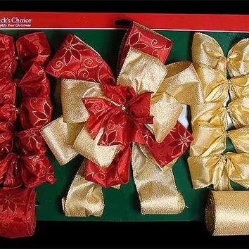 13-piece Christmas Tree Decorating Kit - Includes 1 Tree Topper, 2 Bows And 3 Wire Ribbon Spools