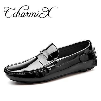 CcharmiX Large Size 13 Patent Leather Men Casual Shoes Slip On Leisure Men Driving Penny Loafers High Quality Mirror Shoes Men