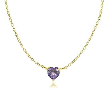 Dainty Simulated Alexandrite Small Heart Choker Necklace in Gold Plated Silver