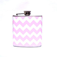 Flask - 6 oz Stainless Steel - Chevron Flask - Pink and Cream
