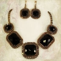 Black Onyx Necklace on BC Bronze w 18k gold Plating and Swarovski Crystals for any special occasion