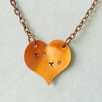 Copper heart necklace, xo xo, love necklace, personalized jewelry, heart pendant, pink heart, friendship necklace