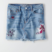 AEO Vintage Hi-Rise Embroidered Skirt, Blue