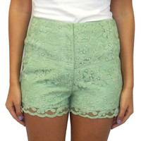 Lace Shorts- Mint