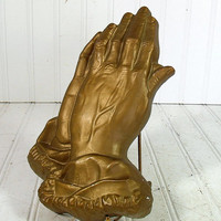 Relief Praying Hands Gold Paint ChalkWare Plaque - Vintage Religious Plaster Work - Shabby Chic Cottage