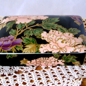 Vintage Fitz and Floyd Cloisonne Peony Box, Porcelain Card Deck Box