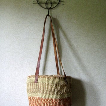 Sisal Tote Bag woven straw beach bag market tote boho hipster jute basket bag raffia carryall natural tan leather long straps medium large