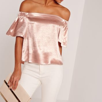 Missguided - Crushed Satin Bardot Blouse Pink
