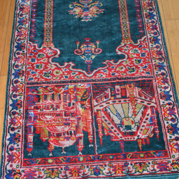 Small rug. Display a chair on or plants. Prayer rug. Gorgeous turquoise blue design.