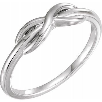 14k White Yellow or Rose Gold Infinity Style Knot Ring