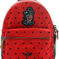 F59831 MINI CHARLIE BACKPACK IN PRAIRIE BANDANA PRINT WITH MICKEY QB/BRIGHT RED BLACK