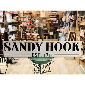 Handcrafted Barn Board Wood Sign - Sandy Hook Est. 1711 - 44-in