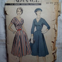 Complete 1950's Advance Sewing Pattern, 7981!  22 1/2 Bust 42 Large/XL/Women's/Misses/Retro Full Flared Dress/V-Neck/Long or Short Sleeve