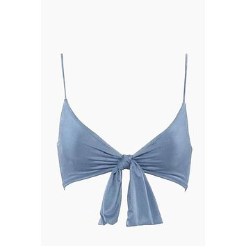 Start Me Up Front Knot Bikini Top - Blue