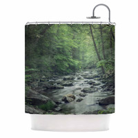 "Suzanne Harford ""Misty Forest Stream"" Nature Photography Shower Curtain"