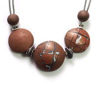 Tribal Statement Necklace, French Roast Brown, Earty, Big Chunky Designers Jewelry, Contemporary Elegant,   Adjustable