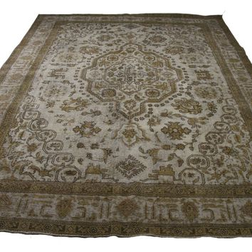 10x13 Distressed Vintage Beige Rug Low Wool Pile OOAK Worn Out Look 2906