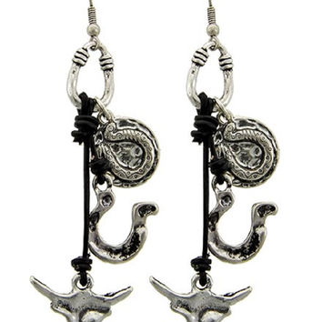 Burnished Silver Tone Cow Skull Earrings