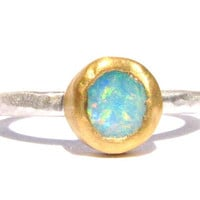 Natural Rough Australian Opal Ring - 24k Solid gold and Silver Ring - Gemstone Ring - Stackable Ring.