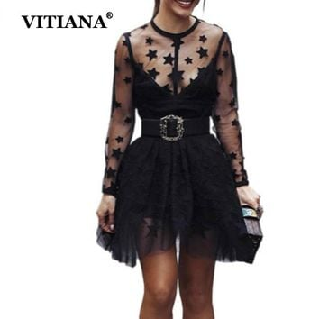 VITIANA Women Sexy Party Lace Short Dress Female 2018 Summer Long Sleeve See-through Mesh Street Club Wear Casual Mini Dress
