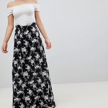 ASOS Maxi Skirt with Paperbag Waist in Mono Floral Print at asos.com