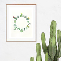 Cactus Art Print - Cactus and Succulent Watercolor Painting Print, Unique Wall Art, Home Decor
