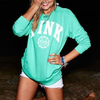 """""""PINK"""" Victoria's Secret Trending Women Loose Letter Print Long Sleeve Round Collar Pullover Sweater Top Green I"""