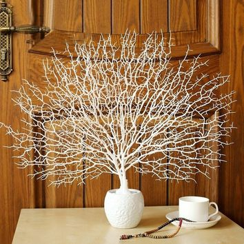 Artificial Peacock Coral Tree Branches Home Wedding  Aquarium Landscaping Decor(Size:45cm)