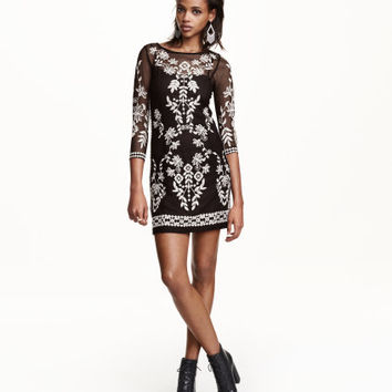 H&M Embroidered Mesh Dress $34.99