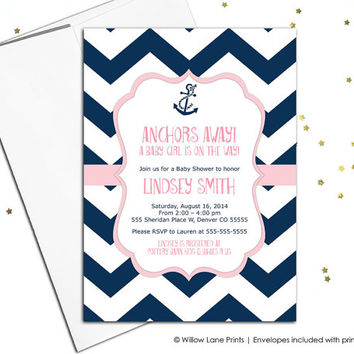 baby girl baby shower invites nautical theme in navy and pink chevron with anchor - printable or printed - WLP00793