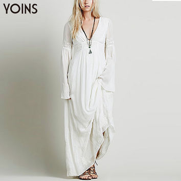 Bohemian Fashion Women Deep V-neck Maxi Dress Casual Flare Sleeves Floral Embroidery Long Dress
