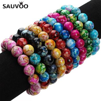2017 New Handmade Natural Stone Stretch Beaded Bracelets for Women Fashion Candy Colors 12mm Resin Beads Bracelet 20cm 1pc F2837