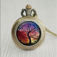 Tree of Life Pocket Watch Necklace
