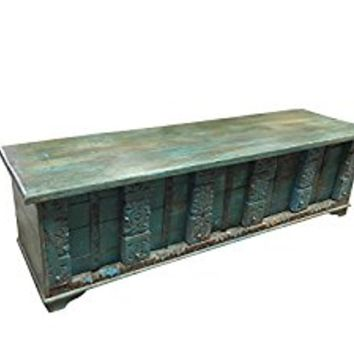Vintage Trunk Blue Distressed Natural Wood Bench Table Wedding Old Pitara Shabby CHIC Interior