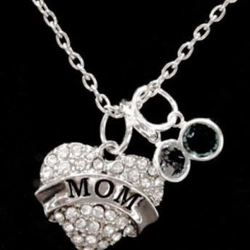 Birthstone Crystal Mom Gift For Mother's Day Mother Personalized Necklace