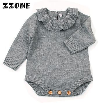 6M-24M Baby Girl Winter Knitted Coveralls Clothes Kids Solid Long Sleeve Jumpsuit Newborn Princess Ruffle Pullover Sweater,DC336