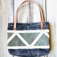 Distressed Canvas & Leather Tote Bag