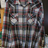vintage 80s ely  Cattleman   PLAID  pearl snaps button down western shirt  Large cowboy rockstar