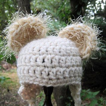 Crochet Baby Hat Bear Hat Animal Hat Newborn Hat by Monarchdancer