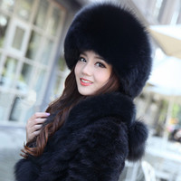 New Women's Real Fox Fur Hat Russian Style Winter Warmer Ear Cap  QS037