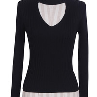 Black High Neck Cut Out Cable Knit Sweater