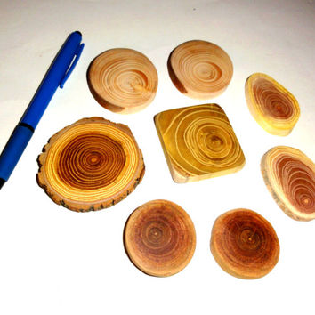Wood jewelry supplies, wood jewelry findings, wood slices, wooden discs. Jewelry making parts, for pendants, magnets, wall art, rings ...