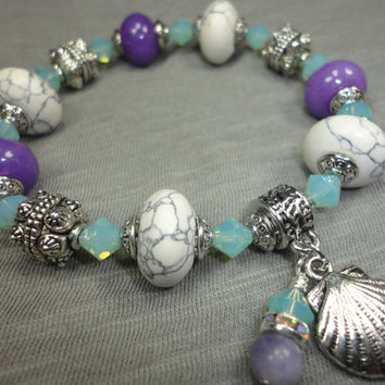Howlite, Purple Chalcedony, Pacific Opal Crystal Charm Bracelet With Clam Shell and Aquamarine and Crystal Dangle