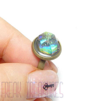 Galaxy rainbow iridescent spike crystal point witchy ring soft grunge holo holographic goth