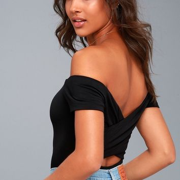 Harlen Black Off-the-Shoulder Bodysuit