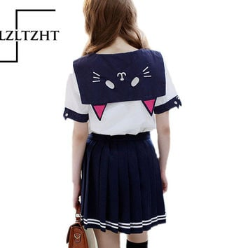 New Summer Lovely Cat Embroidery Chiffon T Shirts Girl White Sailor collar Crop Tops Short Sleeve Shirts Casual Shirts
